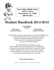 Student Handbook - Kate Collins Middle School