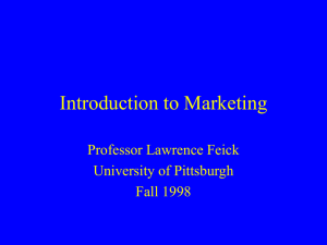 Introduction to Marketing - University of Pittsburgh