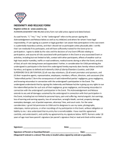 Indemnity and Release Form - CASA of Liberty/Chambers Counties