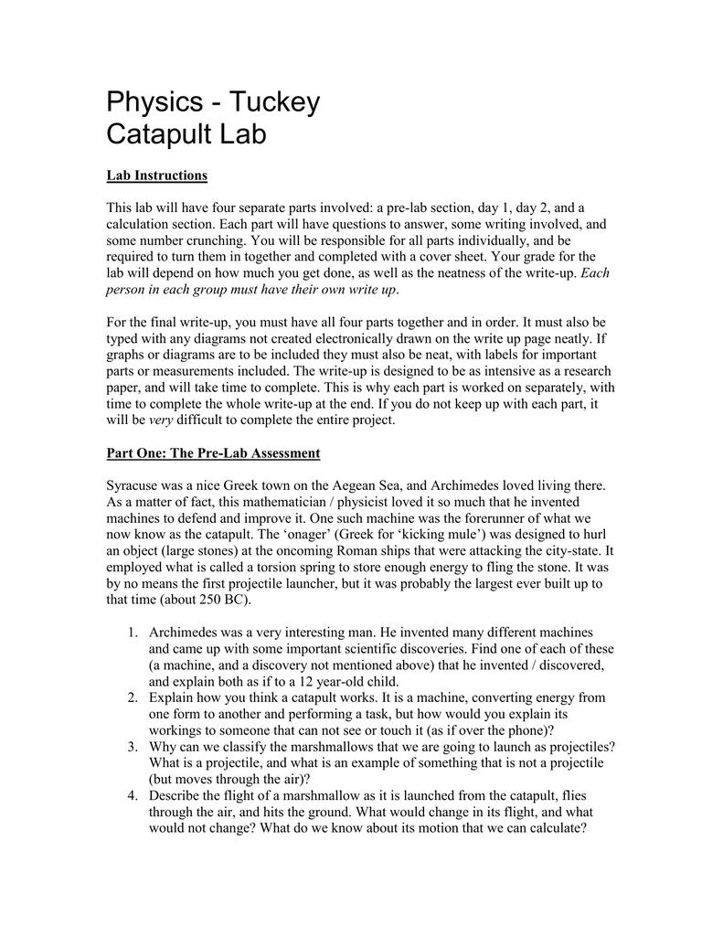 Catapult Lab Engineering Schematics