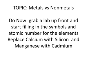 TOPIC: Metals vs Nonmetals Do Now: Take three different crayons