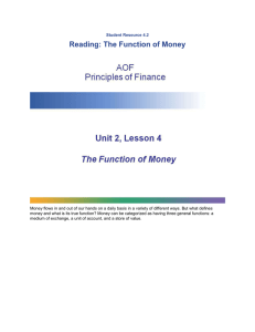 Reading: The Function of Money