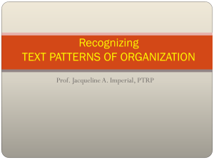 Recognizing TEXT PATTERNS OF ORGANIZATION