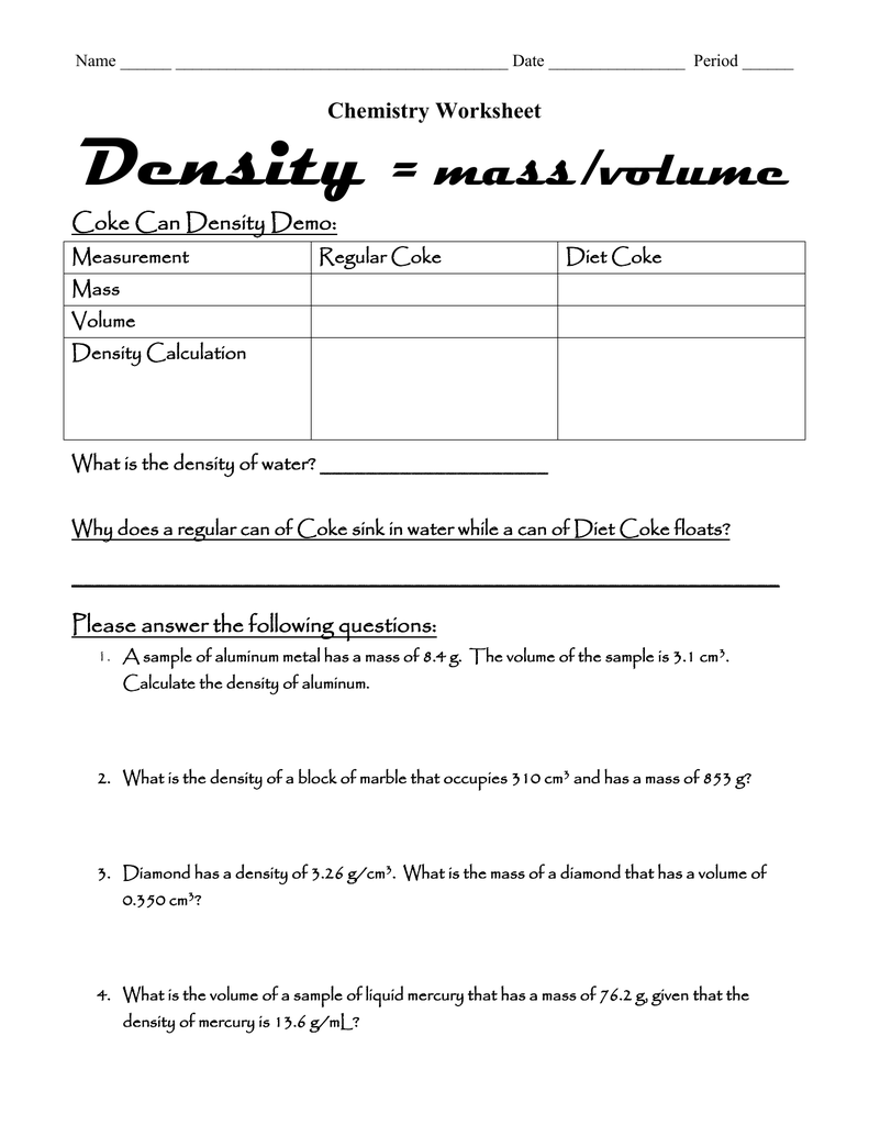 Chemistry Worksheet – Density Mass Volume Worksheet