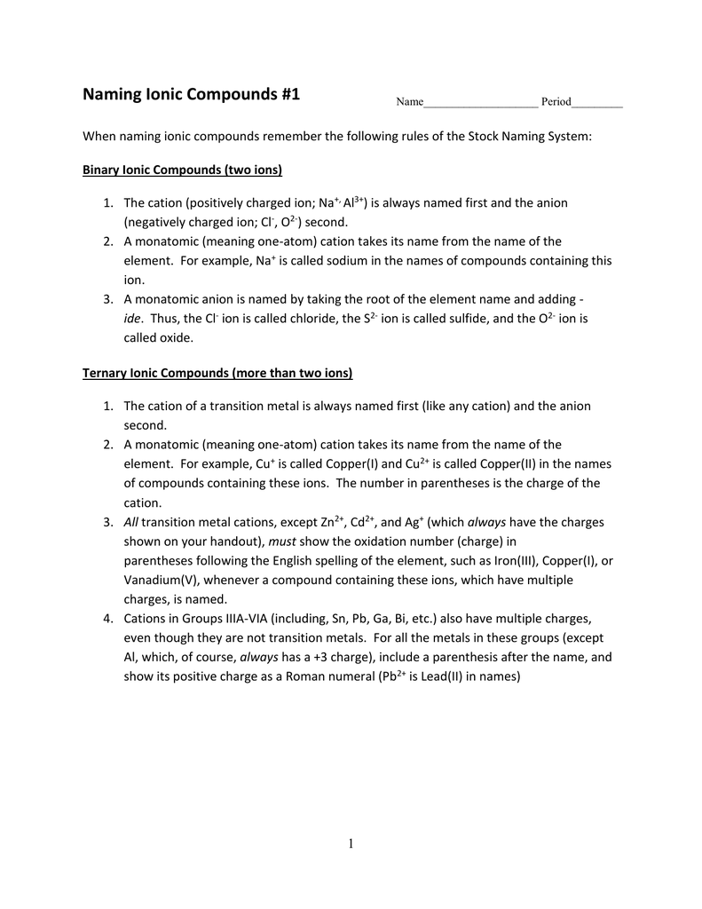 Nomenclature worksheets 16 – Nomenclature Worksheet 3 Ionic Compounds Containing Polyatomic Ions