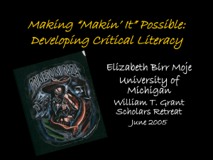 "Making ""Makin' It"" Possible: Developing Critical Literacy"