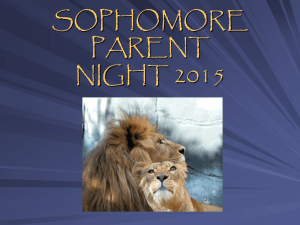 Sophomore Parent Night PowerPoint