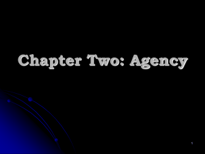 Chapter Two: Agency