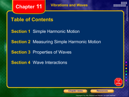 Section 1 Simple Harmonic Motion