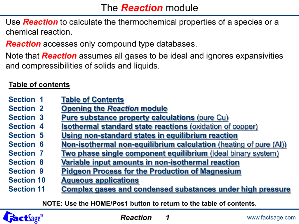The Reaction module