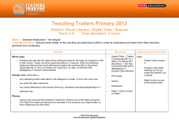 Teaching Trailers Primary 2012