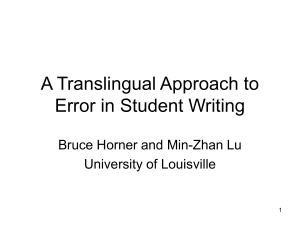A Translingual Approach to Error in Student Writing