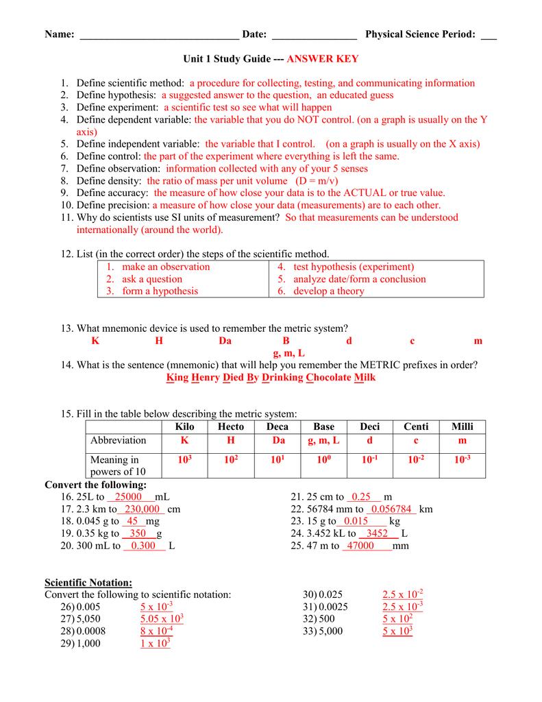 Unit 1 Study Guide Answer Key