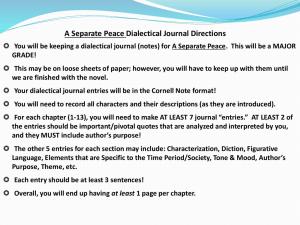 A Separate Peace Bildungsroman - Ms  Hammond