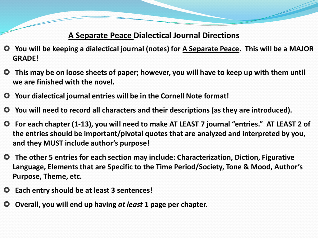 a separate peace journals