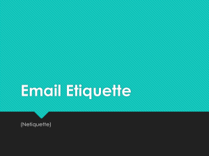 Email Netiquette - Center for Student Success