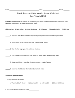 Review Of Bohr Models Answer Key