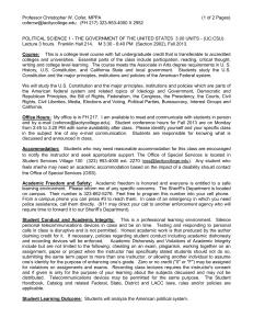 Professor Christopher W. Cofer, MPPA (1 of 2 Pages) cofercw