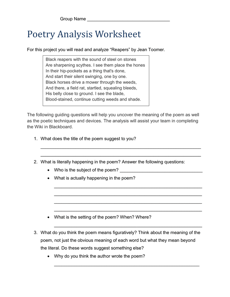Worksheets Analyzing A Poem Worksheet how to read and interpret a poem seamus heaney school poem