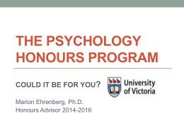 the psychology honours program could it be for you?