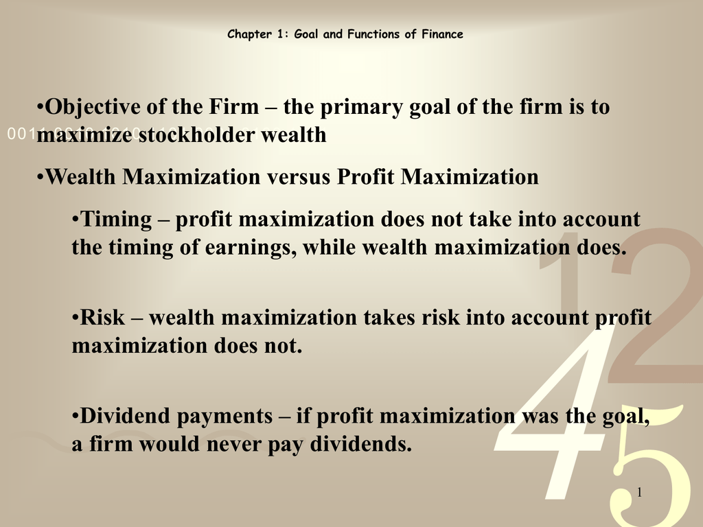 concept of profit and wealth maximization
