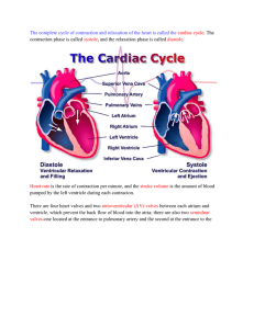 The complete cycle of contraction and relaxation of the heart is