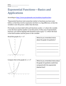Exponential Functions Standard