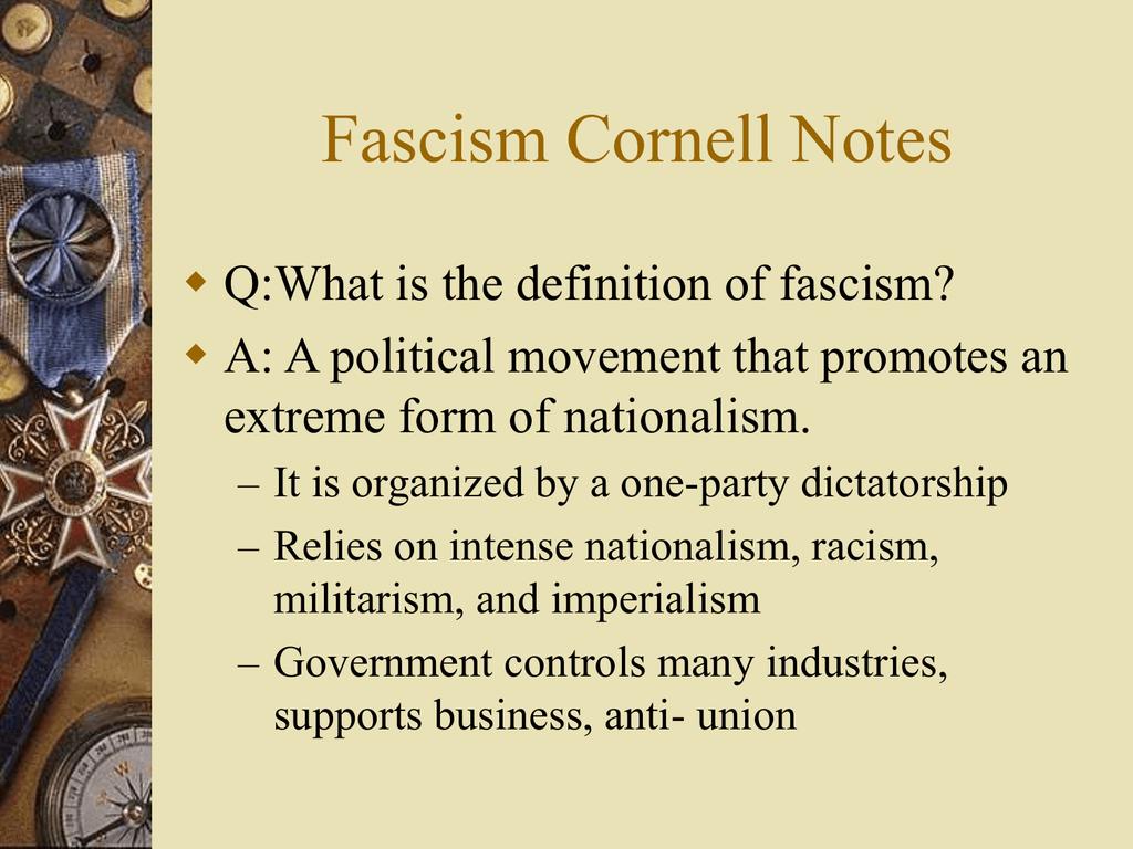 Fascism Cornell Notes