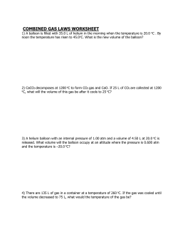 mixed gas laws worksheet - solutions