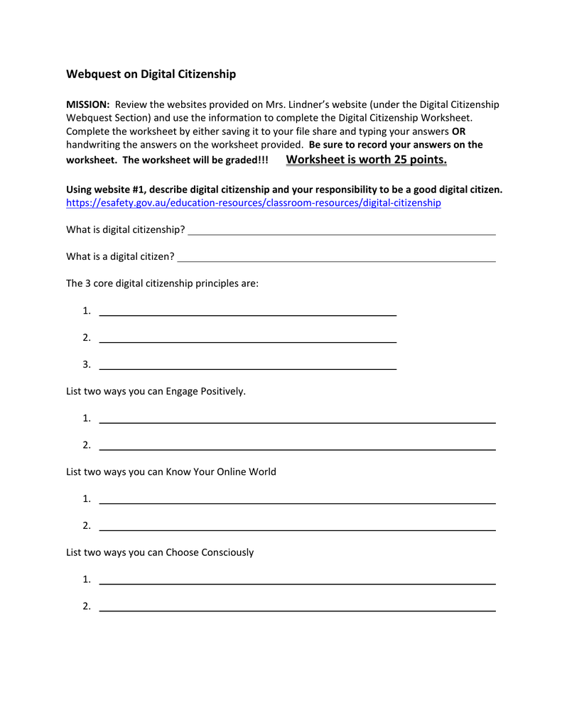 Digital Citizenship Webquest Worksheet – Citizenship in the World Worksheet