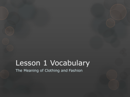 Lesson 1 Vocabulary Meaning of Fashion