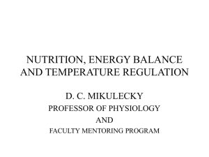nutrition, energy balance and temperature regulation
