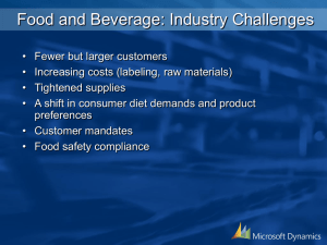 Food and Beverage: Industry Challenges