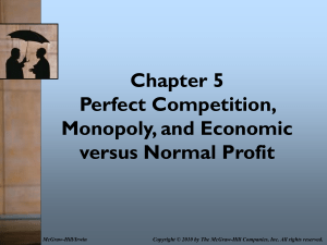 Chapter 6 Perfect Competition, Monopoly and Economic Vs Normal