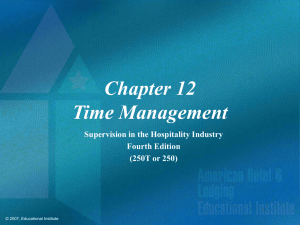 Supervision in the Hospitality Industry Chapter