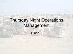 Thursday Night Operations Management