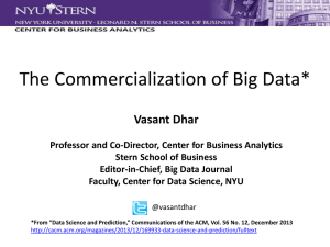 The Commercialization of Big Data