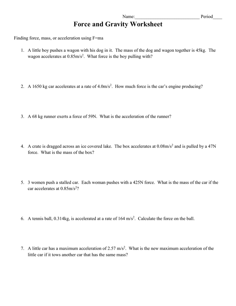 Worksheets F Ma Worksheet 4 force and gravity ws