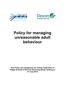 Managing Unreasonable Behaviour in adults Policy