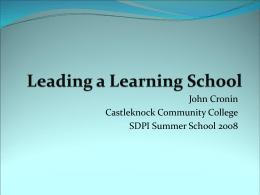 Leading a Learning School—Tracking System