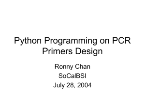 Python Programming on PCR Primers Design