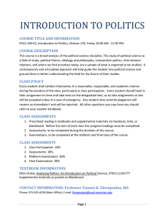 Introduction to Politics - Montclair State University