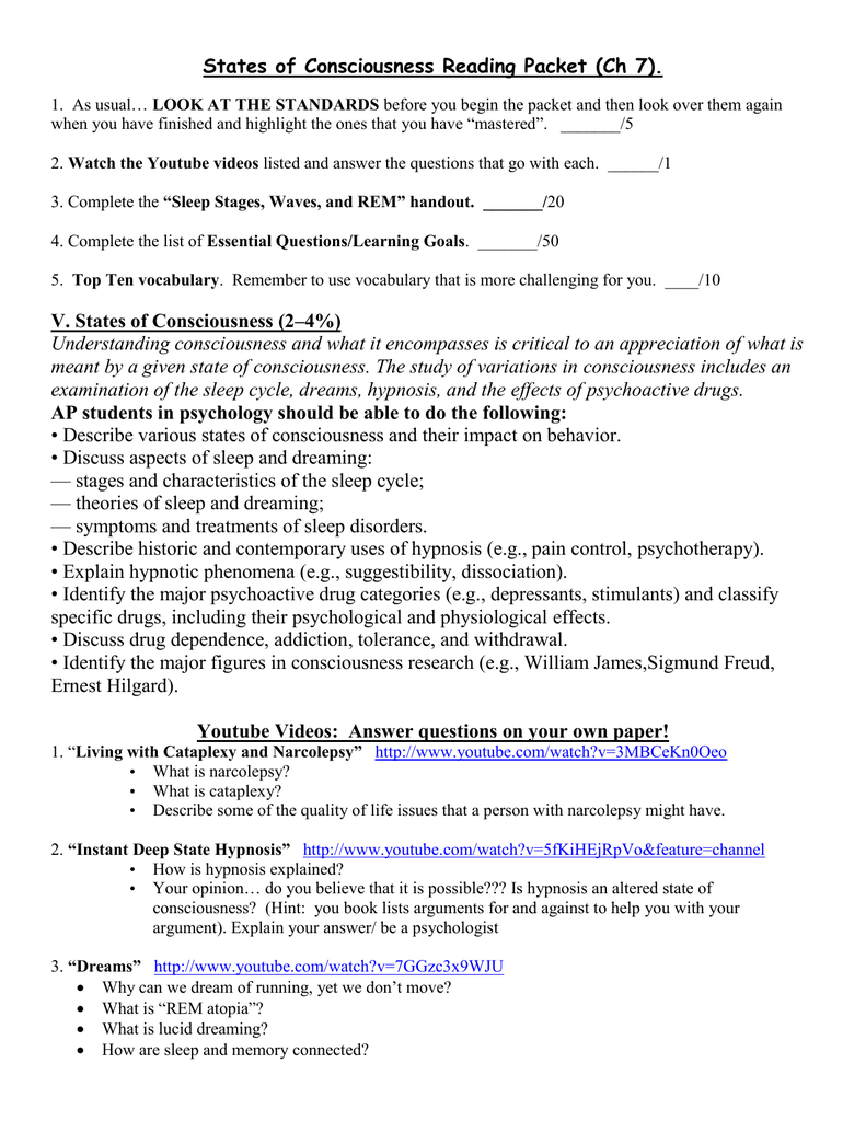 States of Consciousness Reading Packet (Ch 7)