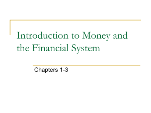 Introduction to Money and the Financial System
