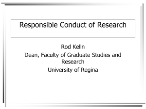 Responsible Conduct of Research 2013 RK