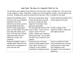 Anne Frank: The Diary of a Young Girl Think Tac Toe