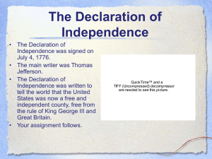 Declaration of Independence Vocabulary PowerPoint Notes