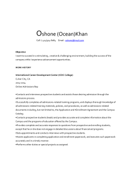 Oshone (Ocean)Khan Cell :( 424)374