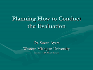 Planning How to Conduct the Evaluation