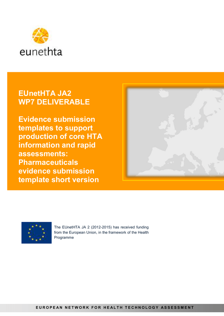 EUnetHTA evidence submission template for pharmaceuticals short